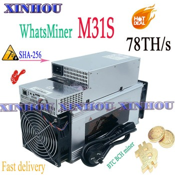 Buy New WhatsMiner M31S 78T Bitcon BTC BCH mine With PSU Asic miner better than M20S M21S Innosilicon T3 T2T Antminer T17 S17+ S9 T9
