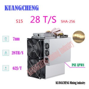 Buy old  Bitmain used 7nm BTC BCH/BCC Miner! AntMiner S15 28T SHA-256 Miner with APW8 PSU Asic Miner Free shipping!