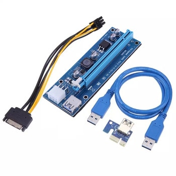 Buy PCI-E 1X to 16X Riser Card 60CM PCI Express USB 3.0 PCI-E SATA to 6Pin Power Cable For BTC ETH XMR Bitcoin Mining Antminer Miner