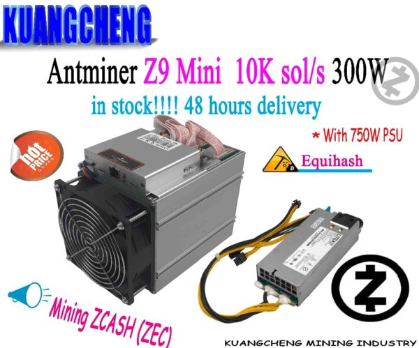 Buy used old 80-90% new Equihash Miner Bitmain Antminer Z9 Mini 10k 300W With 750W Power Supply Asic Miner Fast delivery