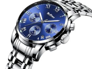 Купить BIDEN Fashion Casual Men's Watch 2019 Blue Dial Silver Steel Strap Quartz Wristwatch Multifunction Waterproof Relogio Masculino цена вас порадует