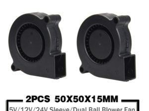 Купить 2 Pieces 5015 50mm DC 24V 12V 5V Ball/Sleeve Brushless Cooling Turbine Blower Fan 50mm x 15mm Blower Cooler Fan for 3D Printer цена вас порадует