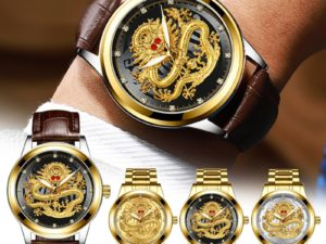 Купить Hot Men's Business Golden Dragons Watch Non-Mechanical Waterproof Watch Suitable For Middle-Aged Men TY66 цена вас порадует