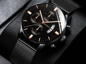 Купить 2021 Men Watches Luxury Famous Brand Men Stainless Steel Mesh Belt Calendar Watch Men Business Quartz Watch цена вас порадует