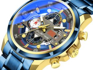 Купить OLENSE Casual Sport Watches for Men Blue Top Brand Luxury Military Stainless Steel Wrist Watch Man Clock Fashion Chronograph цена вас порадует