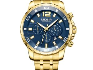 Купить Chronograph Quartz Men Business Steel Dress Watches Luxury Army Wrist Watches Gold Blue Clock Men Relogios Masculino 2068GGD-2N3 цена вас порадует