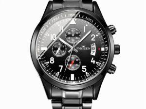Купить FNGEEN Black Steel Watch Men Fashion Men Wristwatch Male Luxury Brand Quartz Clock Man Calendar Waterproof Watches Relojes цена вас порадует