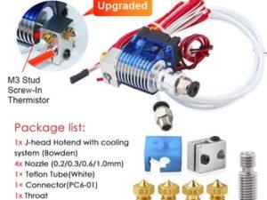 Купить V6 J-head Hotend Bowden Wade Extruder Heater Thermistor Fan Nozzle Heat sink for 1.75/3.0mm Filament Nozzle PTFE Tube 3D Printer цена вас порадует